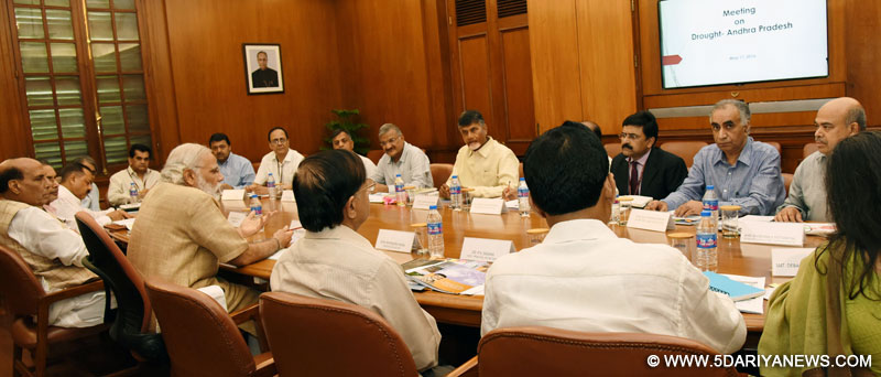 The Prime Minister, Shri Narendra Modi chairing a high level meeting on drought and water scarcity with the Chief Minister of Andhra Pradesh, Shri N. Chandrababu Naidu, in New Delhi on May 17, 2016.