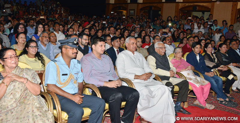 Governor Acharya Devvrat  during  the closing ceremony of 3rd Manohar Singh Smriti Natya Samaroh at  historic Gaiety Theatre, Shimla . Governor of Uttar Pradesh Shri Ram Naik also seen in the picture.