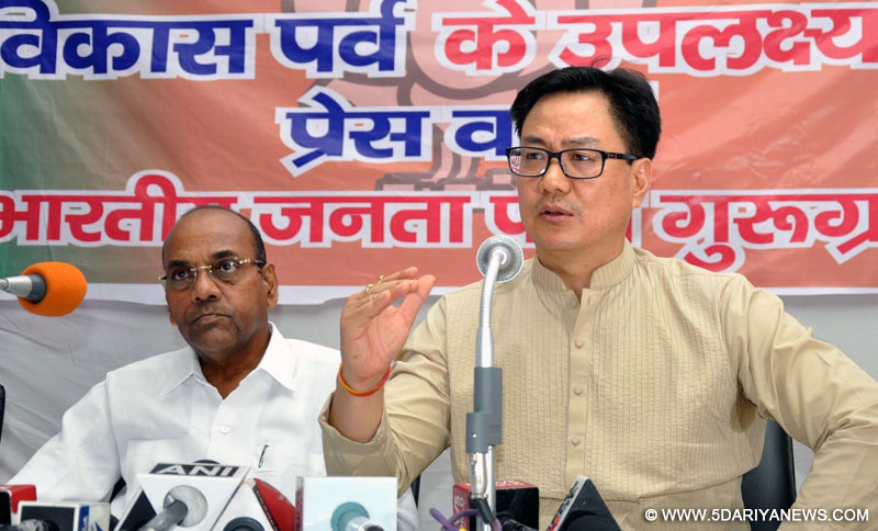Union Ministers Kiren Rijiju and Anant Geete during a press conference regarding achievement of the Narendra Modi