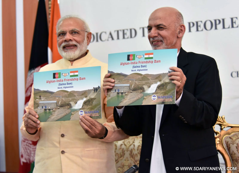 The Prime Minister, Shri Narendra Modi and the President of the Islamic Republic of Afghanistan, Mr. Mohammad Ashraf Ghani at the inauguration of the Afghan-India Friendship Dam (Salma Dam), in Herat, Afghanistan on June 04, 2016.