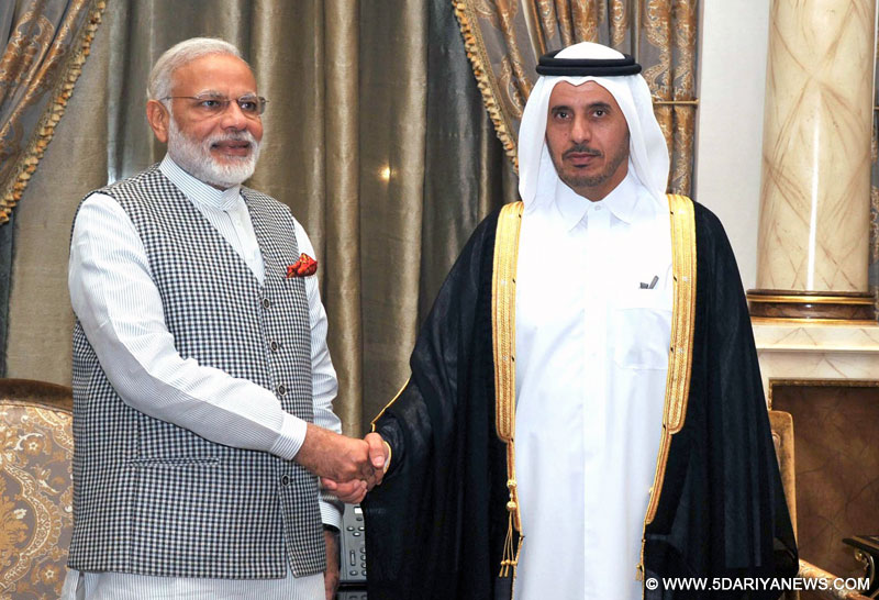 The Prime Minister, Shri Narendra Modi meeting the Prime Minister of Qatar, H.E. Sheikh Abdullah Bin Nasser Al Thani, before the banquet hosted by the Prime Minister of Qatar, in Downtown, Doha on June 04, 2016.
