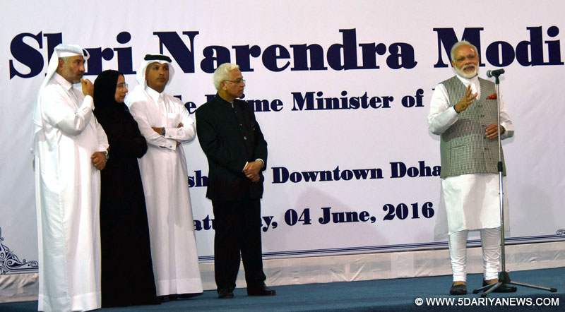 The Prime Minister, Shri Narendra Modi addressing the Indian Workers at a project site, in Mesheireb, Downtown, Doha on June 04, 2016.
