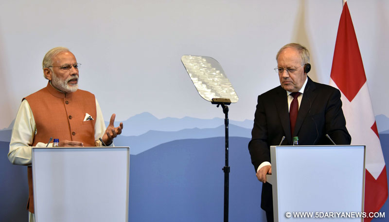 The Prime Minister, Shri Narendra Modi and the President of the Swiss Confederation, Mr. Johann Schneider-Ammann, during the Joint Press Statement, in Geneva, Switzerland on June 06, 2016.