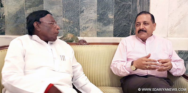 The Chief Minister of Puducherry, Shri V. Narayanasamy calling on the Minister of State for Development of North Eastern Region (I/C), Youth Affairs and Sports (I/C), Prime Minister's Office, Personnel, Public Grievances & Pensions, Atomic Energy and Space, Dr. Jitendra Singh, in New Delhi on June 23, 2016.