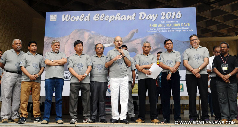 The Minister of State for Environment, Forest and Climate Change (Independent Charge), Shri Anil Madhav Dave addressing the gathering on the occasion of the World Elephant Day 2016, in New Delhi on August 12, 2016.