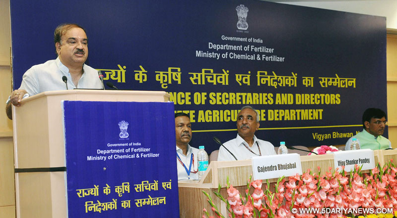 The Union Minister for Chemicals & Fertilizers and Parliamentary Affairs, Shri Ananth Kumar addressing the Conference of the Principal Secretaries/Secretaries and Commissioners/Directors dealing with Agriculture Department in the States/UTs, in New Delhi on August 23, 2016. The Minister of State for Road Transport & Highways, Shipping and Chemicals & Fertilizers, Shri Mansukh L. Mandaviya and other dignitaries are also seen.