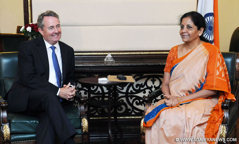 The MP, UK, Secretary for State for International Trade, Dr. Liam Fox meeting the Minister of State for Commerce & Industry (Independent Charge), Smt. Nirmala Sitharaman, in New Delhi on August 29, 2016.