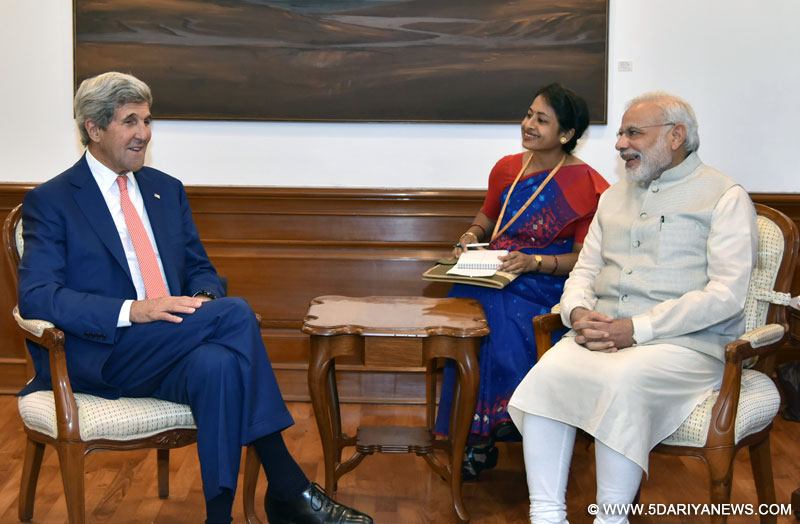 The Secretary of State of the United States of America, Mr. John Kerry calls on the Prime Minister, Shri Narendra Modi, in New Delhi on August 31, 2016.