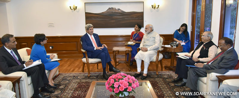 The Secretary of State of the United States of America, John Kerry calls on the Prime Minister, Narendra Modi, in New Delhi on August 31, 2016.