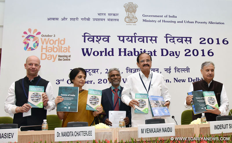 M. Venkaiah Naidu releasing the publication, at the World Habitat Day 2016 function, in New Delhi on October 03, 2016. The Minister of State for Planning (Independent Charge) and Urban Development, Housing and Urban Poverty Alleviation, Shri Rao Inderjit Singh, the Secretary, Ministry of Housing and Urban Poverty Alleviation (HUPA), Dr. Nandita Chatterjee and other dignitaries are also seen.