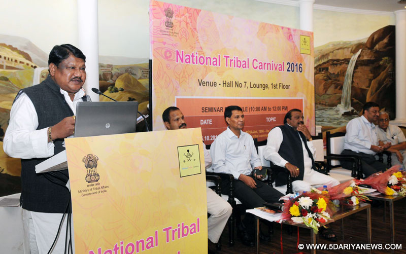 The Union Minister for Tribal Affairs, Shri Jual Oram addressing at a Workshop on Forest Rights Act, 2006 and its implications, in New Delhi on October 27, 2016,