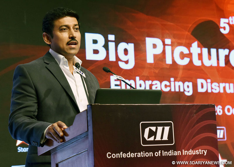 The Minister of State for Information & Broadcasting, Col. Rajyavardhan Singh Rathore delivering the keynote address at an interactive session during the CII Big Picture Summit 2016, in New Delhi on October 26, 2016.