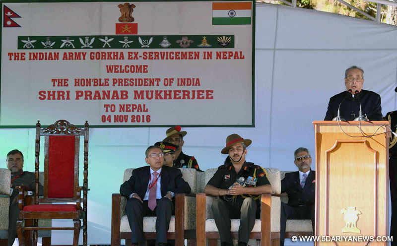 The President, Shri Pranab Mukherjee delivering his address at Ex Servicemen from the Indian Army, at PPO Pokhara, during his state visit, at Nepal in Pokhara on November 04, 2016.