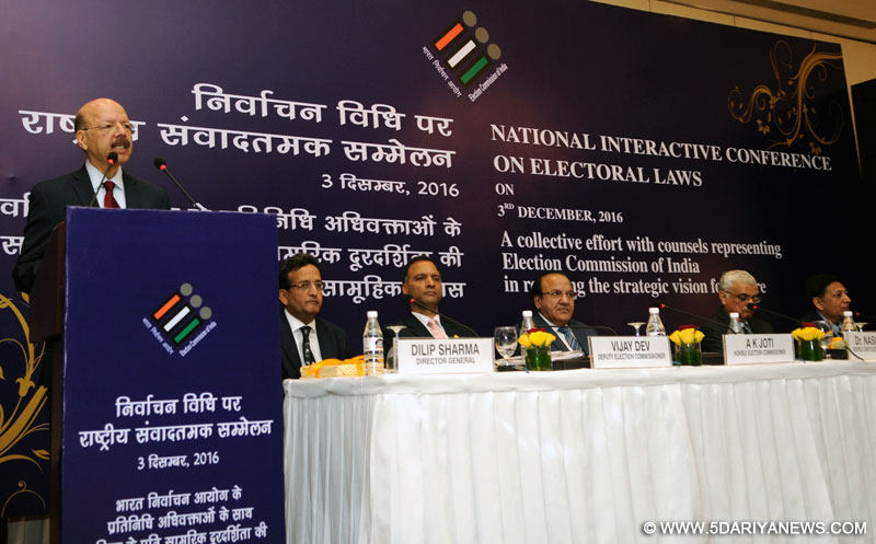 The Chief Election Commissioner, Dr. Nasim Zaidi delivering the inaugural address at the National Interactive Conference on Electoral Laws, organised by the Election Commission of India, in New Delhi on December 03, 2016. The Election Commissioners, Shri A.K. Joti and Shri O.P. Rawat and other dignitaries are also seen.