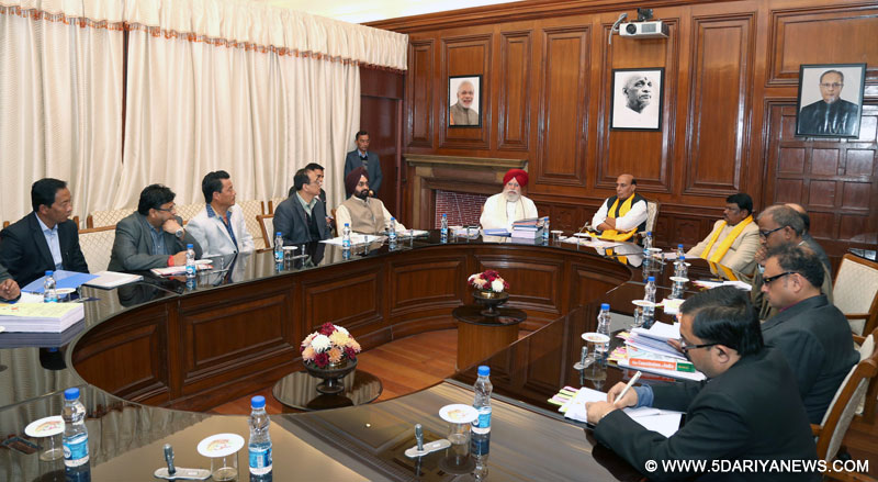 Rajnath Singh chairing a meeting with the delegation of Gorkhaland Territorial Administration (GTA), in New Delhi on December 15, 2016. The Union Minister for Tribal Affairs, Shri Jual Oram, the Minister of State for Agriculture & Farmers Welfare and Parliamentary Affairs, Shri S.S. Ahluwalia and senior officers of the Ministry of Home Affairs, Ministry of Human Resource Development and Ministry of Panchayati Raj are also seen.