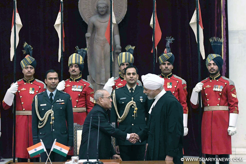 The President, Shri Pranab Mukherjee greets the Chief Justice of India, Shri Justice J.S. Khehar, after administering the oath of office to him, at a swearing-in ceremony, at Rashtrapati Bhavan, in New Delhi on January 04, 2017.