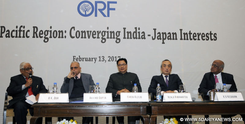 The Minister of State for Home Affairs, Kiren Rijiju at the seminar on 'Indo-Pacific Region: Converging India-Japan Interests', organised by the Observer Research Foundation, in New Delhi on February 13, 2017.