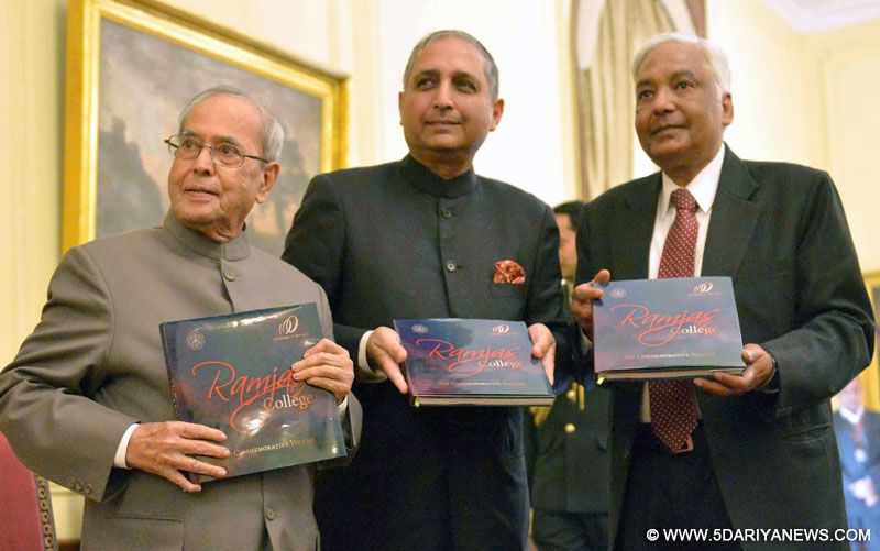 The President, Shri Pranab Mukherjee releasing commemorative volume on 'History of Ramjas' at the centenary celebrations of Ramjas College, at Rashtrapati Bhavan, in New Delhi on February 13, 2017.