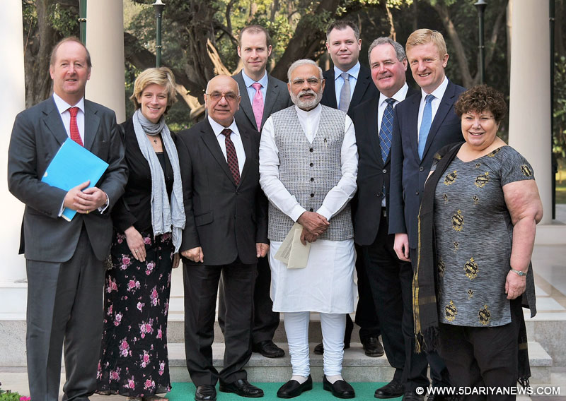An eight-member delegation of British Parliamentarians calling on the Prime Minister, Shri Narendra Modi, in New Delhi on February 14, 2017.