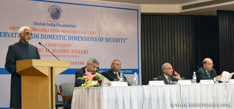 The Vice President, Shri M. Hamid Ansari delivering the 5th K. Subarhmanyam Memorial Lecture, in New Delhi on February 14, 2017.