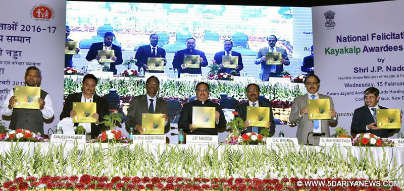 The Union Minister for Health & Family Welfare, Shri J.P. Nadda releasing the Kayakalp coffee table book, at the National Felicitation Ceremony of Kayakalp awardees (2016-17), in New Delhi on February 15, 2017.
