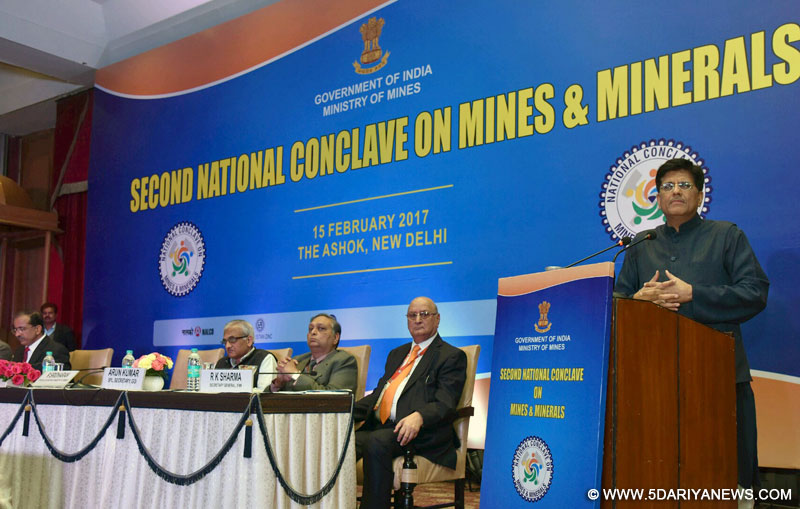 The Minister of State for Power, Coal, New and Renewable Energy and Mines (Independent Charge), Shri Piyush Goyal addressing at the concluding session of the 2nd National Conclave on Mines & Minerals, in New Delhi on February 15, 2017.
