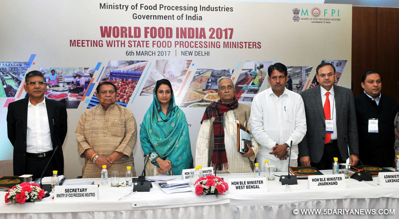The Union Minister for Food Processing Industries, Smt. Harsimrat Kaur Badal at the meeting with the State Food Processing Ministers on World Food India – 2017, in New Delhi on March 06, 2017. The Secretary, Ministry of Food Processing Industries, Shri Avinash Kumar is also seen.