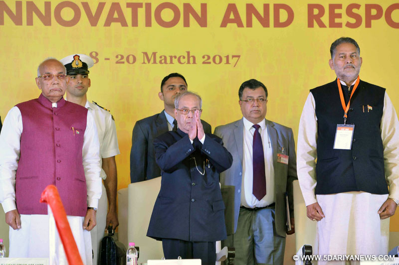 "The President, Shri Pranab Mukherjee at the inauguration of the International Conference on the theme of ""Universities of the Future: Knowledge, Innovation and Responsibility"" at O.P. Jindal Global University (JGU), at Sonipat, in Haryana on March 18, 2017. The Governor of Haryana, Prof. Kaptan Singh Solanki is also seen."