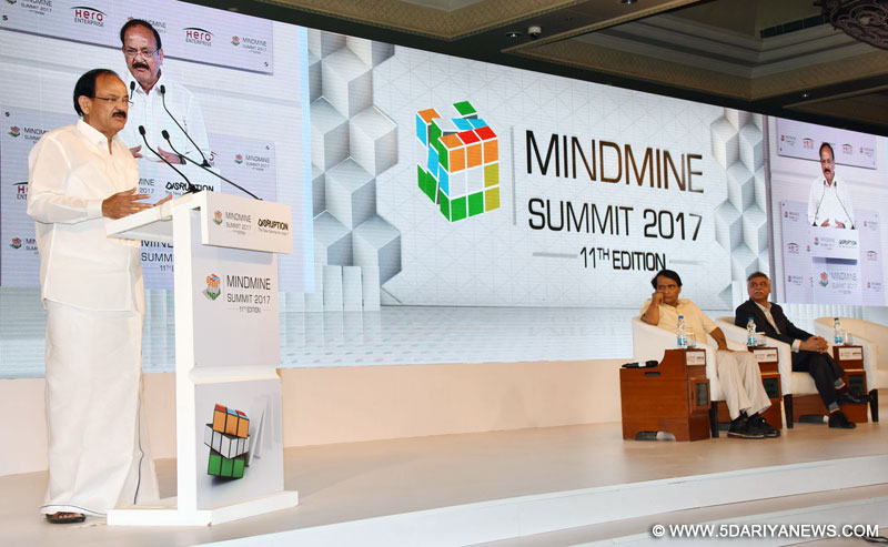 The Union Minister for Urban Development, Housing & Urban Poverty Alleviation and Information & Broadcasting, Shri M. Venkaiah Naidu addressing the MINDMINE SUMMIT 2017, in New Delhi on April 20, 2017. The Union Minister for Railways, Shri Suresh Prabhakar Prabhu is also seen.