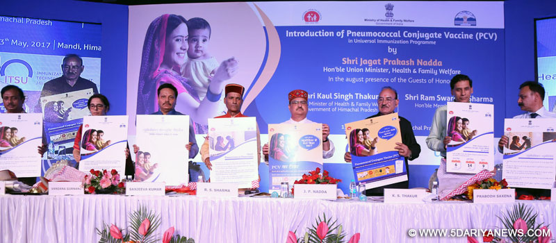 The Union Minister for Health & Family Welfare, Shri J.P. Nadda unveiling the communication material at the launch of the pneumococcal conjugate vaccine (PCV) in the Universal Immunization Programme (UIP) of the country, at Mandi, Himachal Pradesh on May 13, 2017.