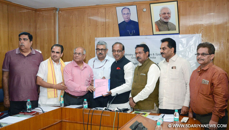 A High-Level Committee on Scouts and Guides submitting its report to the Minister of State for Youth Affairs and Sports (I/C), Water Resources, River Development and Ganga Rejuvenation, Shri Vijay Goel, in New Delhi on May 22, 2017. The Secretary, Ministry of Youth Affairs, Dr. A.K. Dubey is also seen.