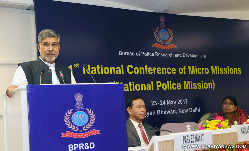 The Nobel Laureate, Shri Kailash Satyarthi addressing the Valedictory Session of the National Conference of Micro Missions of National Police Mission, organised by the Bureau of Police Research & Development (BPR&D), MHA, in New Delhi on May 24, 2017.