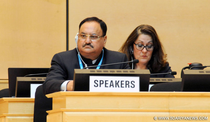 The Union Minister for Health & Family Welfare, Shri J.P. Nadda at the Plenary Meeting of the 70th World Health Assembly, at Geneva