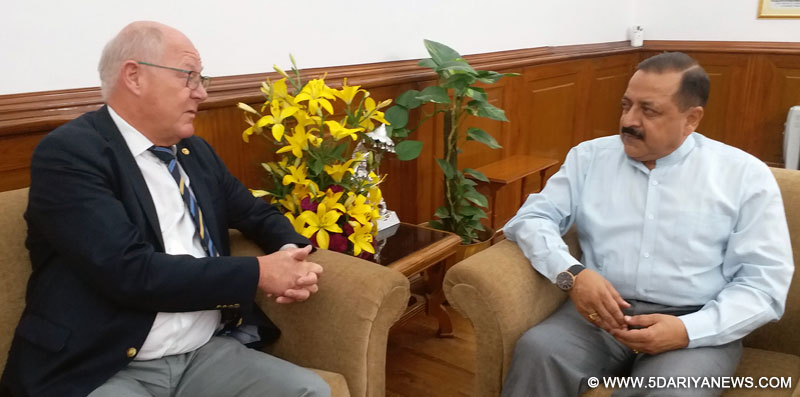 The Space Chief of Sweden, Mr. Peter Egardt calling on the Minister of State for Development of North Eastern Region (I/C), Prime Minister's Office, Personnel, Public Grievances & Pensions, Atomic Energy and Space, Dr. Jitendra Singh, in New Delhi on May 24, 2017.