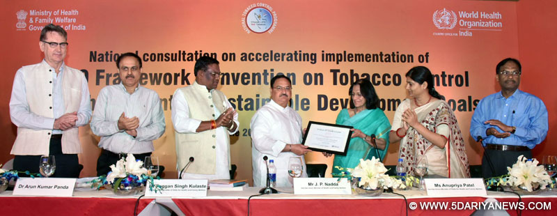 The Union Minister for Health & Family Welfare, Shri J.P. Nadda being conferred the World Tobacco Award 2017 for his contribution to global tobacco control by the World Health Organisation (WHO), the WHO-SEARO Regional Director, Dr. Poonam Khetrapal Singh presented the prestigious award to him, at a function, in New Delhi on June 08, 2017. The Ministers of State for Health & Family Welfare, Shri Faggan Singh Kulaste and Smt. Anupriya Patel, the Director General Health Services, Dr. Jagdish Prasa