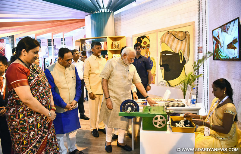 The Prime Minister, Shri Narendra Modi visiting the Textiles India 2017 Exhibition, in Gandhinagar, Gujarat on June 30, 2017. The Union Minister for Textiles, Smt. Smriti Irani, the Chief Minister of Gujarat, Shri Vijay Rupani and the Chief Minister of Andhra Pradesh, Shri N. Chandra Babu Naidu are also seen.