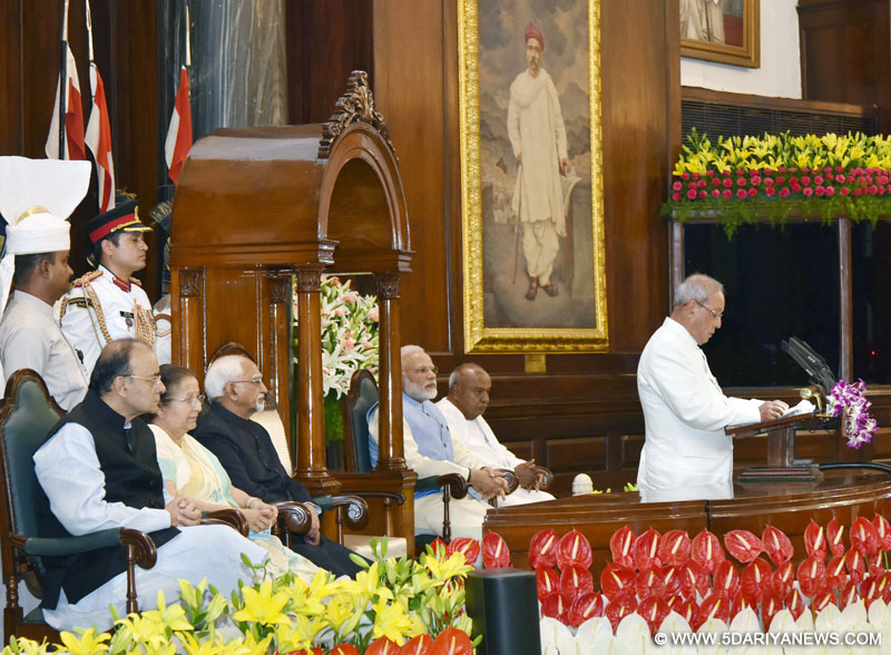 The President, Shri Pranab Mukherjee addressing at the ceremony to launch the Goods & Service Tax (GST), in Central Hall of Parliament, in New Delhi on June 30, 2017. The Vice President, Shri M. Hamid Ansari, the Prime Minister, Shri Narendra Modi and other dignitaries are also seen.