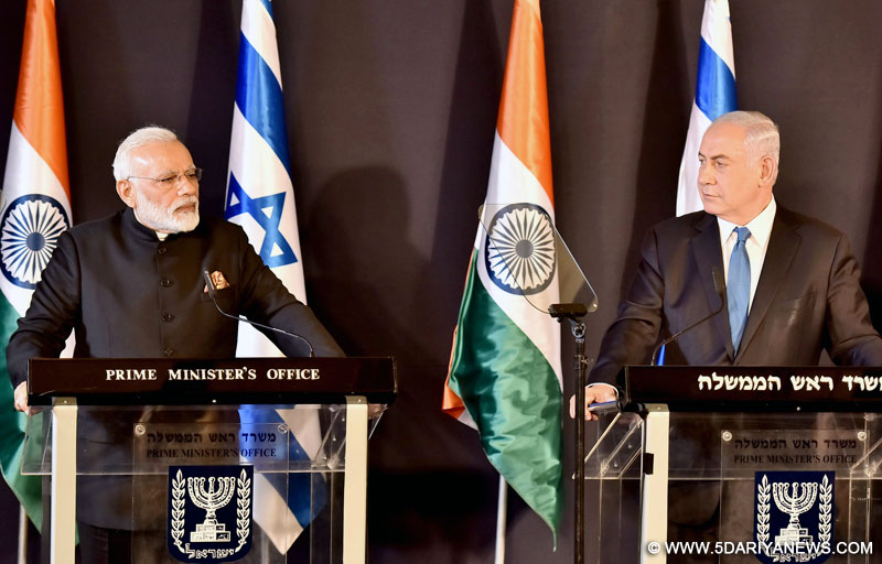 The Prime Minister, Shri Narendra Modi addressing the press meet with the Prime Minister of Israel, Mr. Benjamin Netanyahu, in Jerusalem, Israel on July 05, 2017.