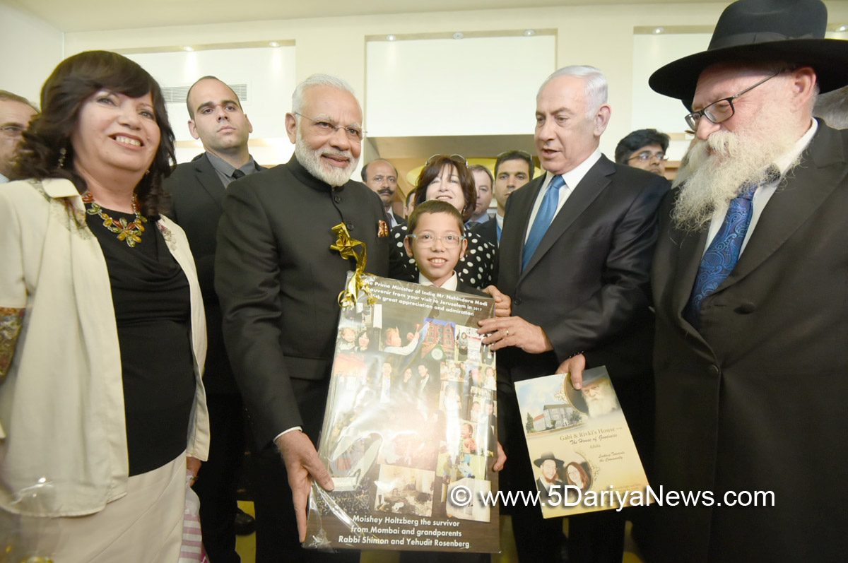 The Prime Minister, Shri Narendra Modi meeting Moshe Holtzberg, the now 11-year-old survivor of the 26/11 attacks, in Jerusalem, Israel on July 05, 2017. The Prime Minister of Israel, Mr. Benjamin Netanyahu is also seen.