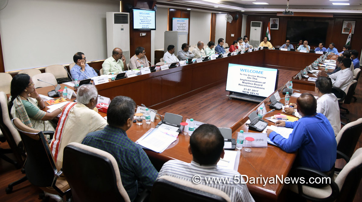 The Minister of State for Labour and Employment (Independent Charge), Shri Bandaru Dattatreya addressing the review meeting on the Implementation of Majithia Board Recommendations, in New Delhi on July 21, 2017. The Secretary, Ministry of Labour & Employment, Smt. M. Sathiyavathy is also seen.