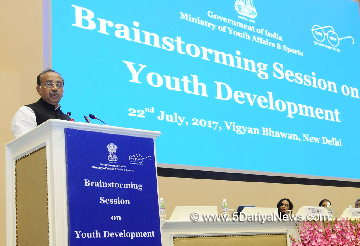 The Minister of State for Youth Affairs and Sports (I/C), Water Resources, River Development and Ganga Rejuvenation, Shri Vijay Goel delivering the keynote address at the Brainstorming Session on Youth Development, in New Delhi on July 22, 2017.