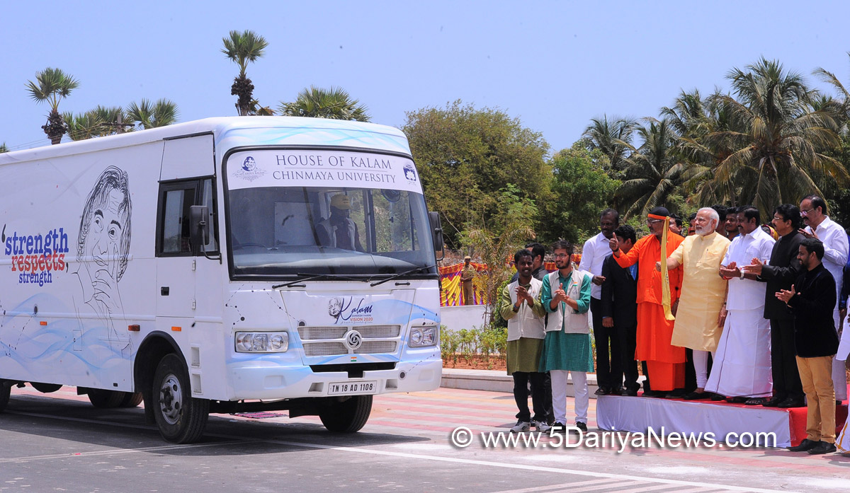 The Prime Minister, Shri Narendra Modi flagging off 'Kalam Sandesh Vahini', an exhibition bus, at Pei Karumbu, Rameswaram, in Tamil Nadu on July 27, 2017. The Governor of Tamil Nadu, Shri C. Vidyasagar Rao, the Chief Minister of Tamil Nadu, Shri Edappadi K. Palaniswami and other dignitaries are also seen.