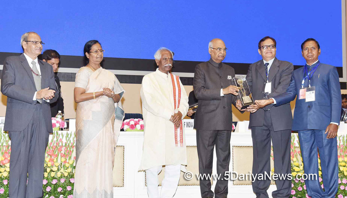 The President, Shri Ram Nath Kovind presented the National Safety Awards (Mines) for the years 2013 & 2014, at a function, in New Delhi on August 17, 2017. The Minister of State for Labour and Employment (Independent Charge), Shri Bandaru Dattatreya and the Secretary, Ministry of Labour & Employment, Smt. M. Sathiyavathy are also seen.