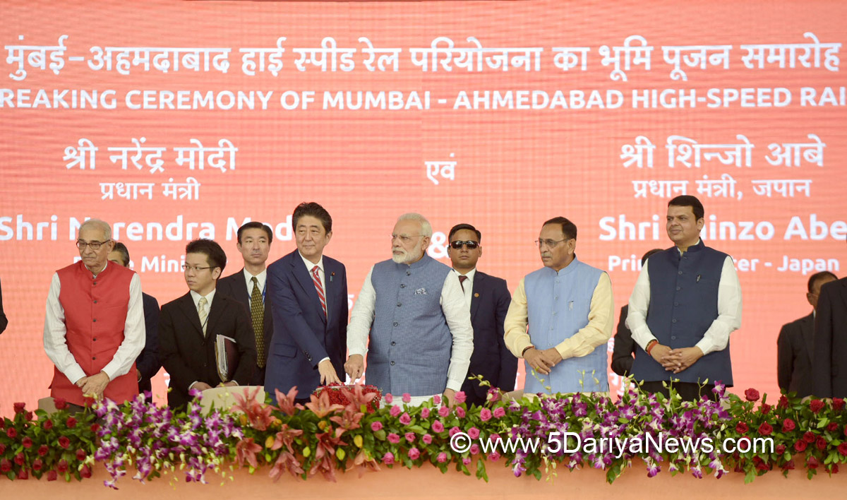The Prime Minister, Shri Narendra Modi and the Prime Minister of Japan, Mr. Shinzo Abe laying the foundation stone for Mumbai-Ahmedabad High speed Rail Project, at a function, at Ahmedabad, Gujarat on September 14, 2017.