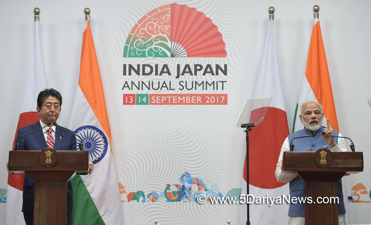 The Prime Minister, Shri Narendra Modi and the Prime Minister of Japan, Mr. Shinzo Abe at the joint press statement, during 12th India Japan Annual Summit, at Mahatma Mandir, in Gandhinagar, Gujarat on September 14, 2017.
