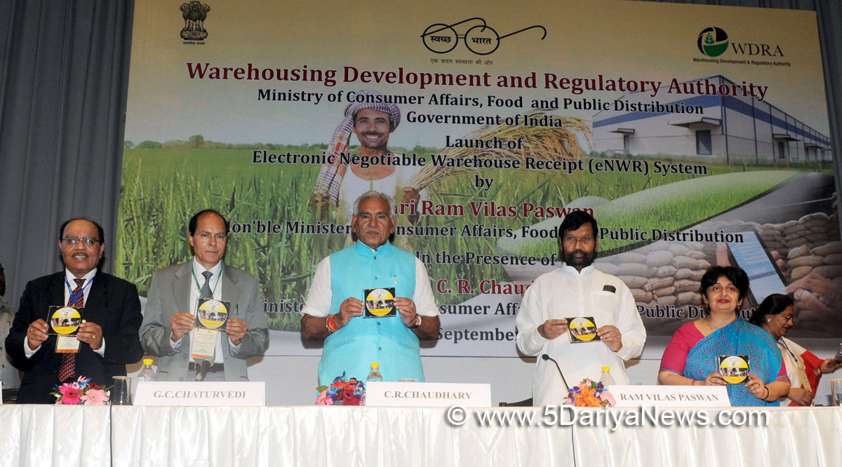 "Ram Vilas Paswan at the launch of the ""Electronic Negotiable Warehouse Receipt (e NWR) System"", in New Delhi on September 26, 2017. The Minister of State for Consumer Affairs, Food & Public Distribution and Commerce & Industry, Shri C.R. Chaudhary, the Secretary, Department of Food & Public Distribution, Ms. Preeti Sudan and other dignitaries are also seen."
