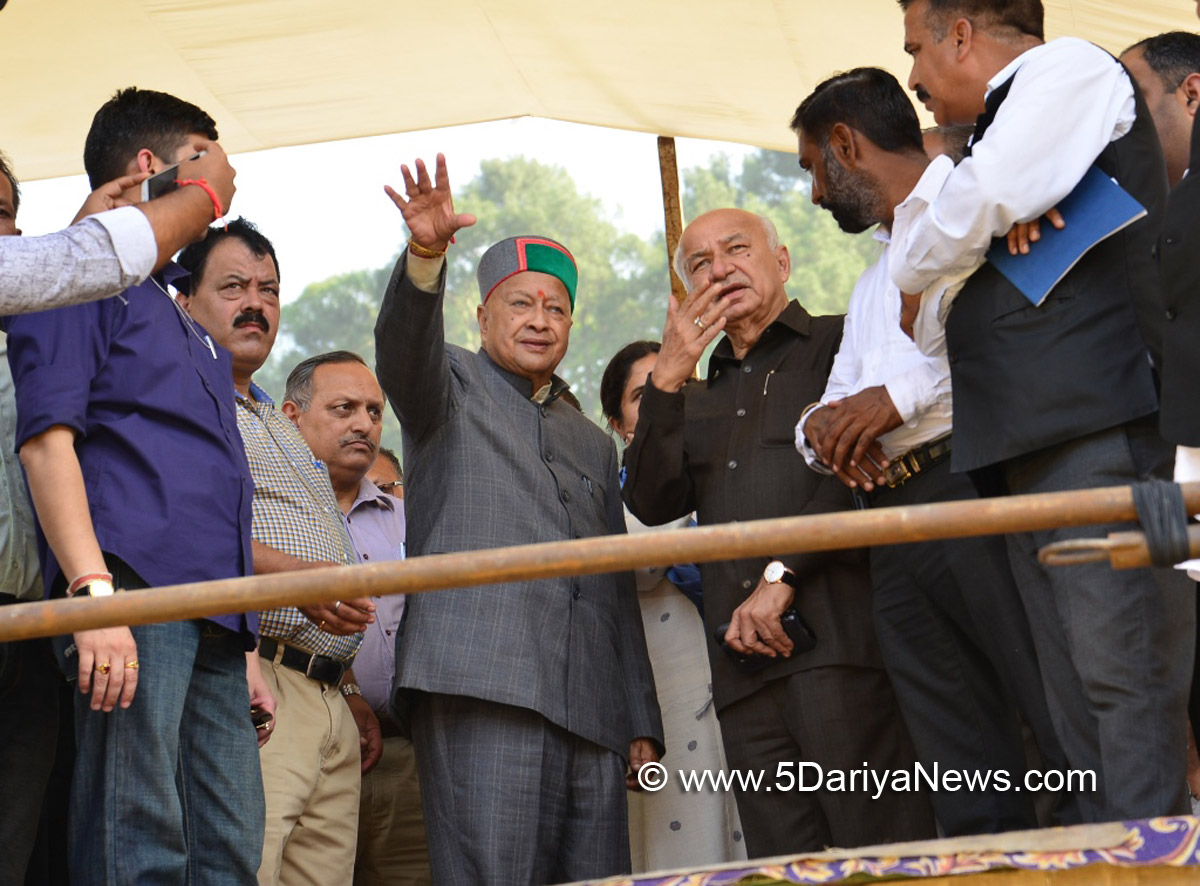 Chief Minister Virbhadra Singh, along with Party in-charge for HP Sushil Kumar Shinde and Co-incharge Ranjeeta Ranjan reviewing arrangements of rally