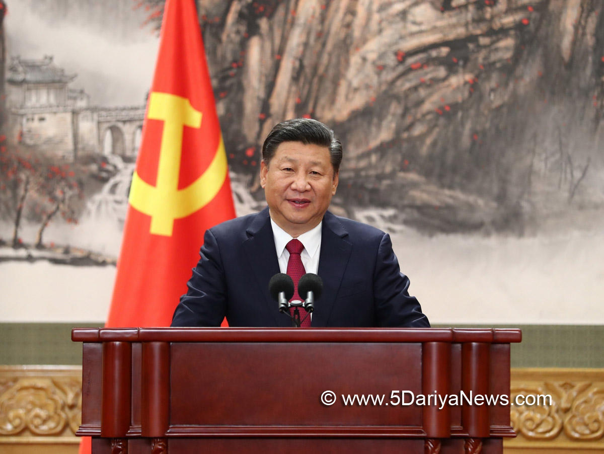 Xi Jinping, general secretary of the Central Committee of the Communist Party of China (CPC), speaks when meeting the press at the Great Hall of the People in Beijing, capital of China, Oct. 25, 2017. Xi Jinping and the other newly-elected members of the Standing Committee of the Political Bureau of the 19th CPC Central Committee Li Keqiang, Li Zhanshu, Wang Yang, Wang Huning, Zhao Leji and Han Zheng met the press on Wednesday.