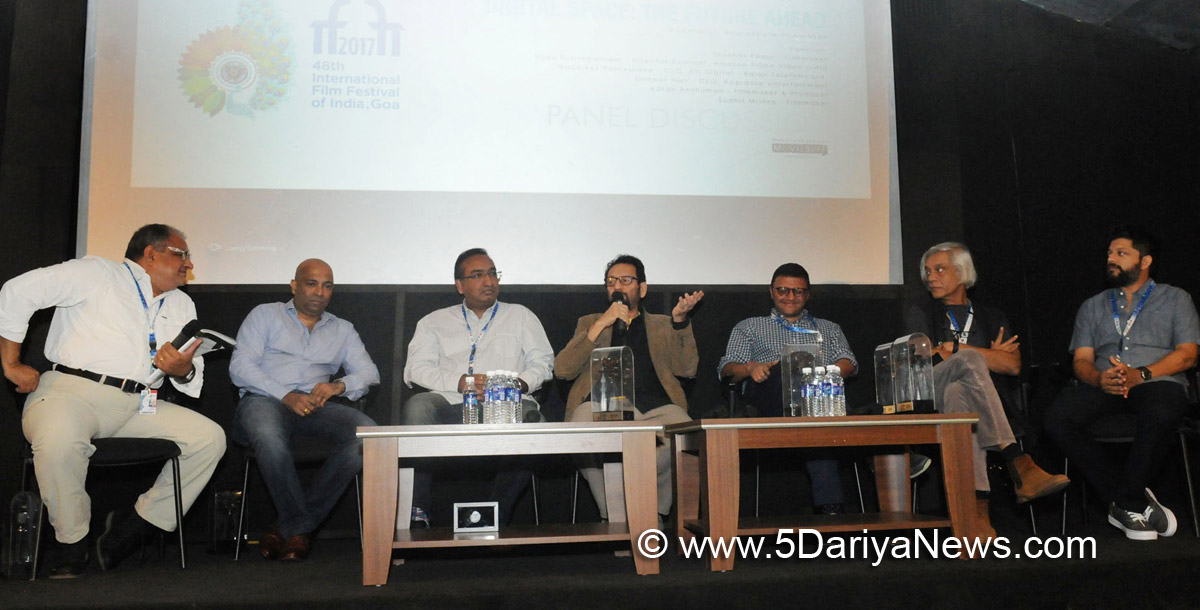 The Filmmaker Panelists: Shekhar Kapur, Sudhir Mishra, Karan Anshuman Vijay Subramaniam, Sameer Nair and Moderator, Bharatbala Ganapathy, at the Panel Discussion , during the 48th International Film Festival of India (IFFI-2017), in Panaji, Goa on November 25, 2017.