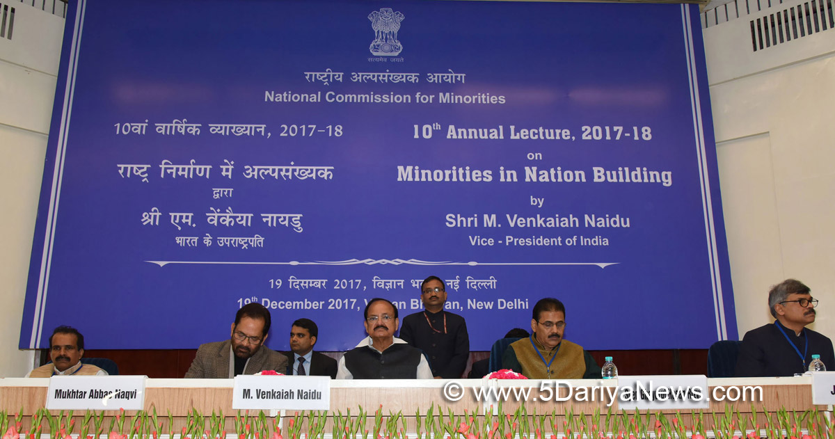 The Vice President, Shri M. Venkaiah Naidu at an event to deliver the 10th Annual Lecture on National Commission for Minorities on the theme 'Minorities in Nation Building', in New Delhi on December 19, 2017. The Union Minister for Minority Affairs, Shri Mukhtar Abbas Naqvi and other dignitaries are also seen.